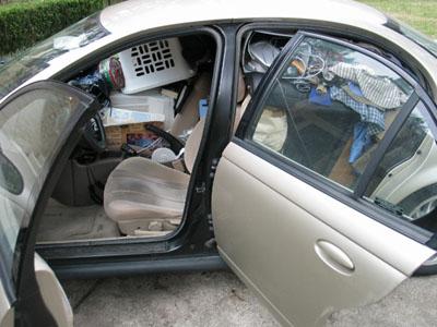 packed car left side